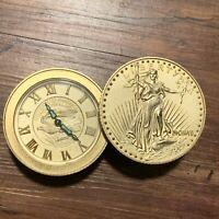 Vintage BULOVA Lady Liberty Gold Eagle Coin Stack Mechanical Wind Alarm Clock