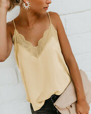 Women Summer Satin Camisole Strappy Vest Tops Sleeveless Casual Tank Blouse CA