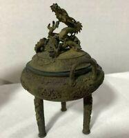 Incense Censer Japanese Antique Koro Dragon Bronze Statue Okimono Old Japan 2