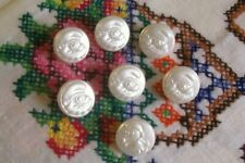 7 vtge. (unused)white glass Smurf buttons with lustred tops 14 mm. diam.