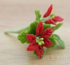 Clay Dollhouse Miniature Handmade Poinsettia Christmas Flower - F-Poinsettia001