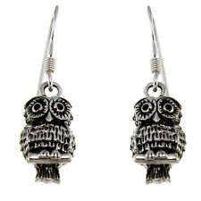 STERLING SILVER OWL DROP EARRINGS WITH GIFT BOX