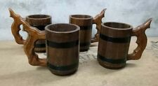 Wooden Beer Mug Tankard With 500 ml Wood Cup Gift set off four mug