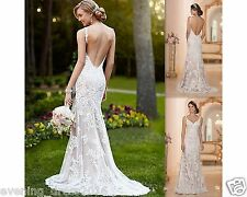Hot Sexy Backless Wedding Dress White Ivory Bridal Gowns Custom Size 8 10 12 14+