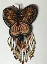 Hand Beaded BUTTERFLY Barrette  FRINGE Barrette brown from indian shop