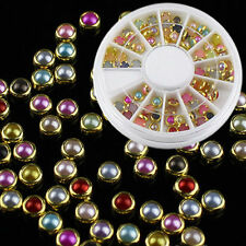 120pcs 3D Nail Art Tips Pearls Studs Glitter Rhinestone DIY Decoration + Wheel
