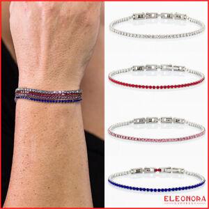 bracciale tennis  acciaio inox uomo donna regolabile braccialetto pietre rosse