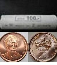 Greece  Greek  2  Drachma  coin roll    Year  1990    UNC BU