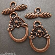 Antique Copper Flowery Toggles 12 Sets Alloy Metal 17.8mm  #0057