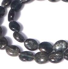 "15.5"" NATURAL Green Dark Teal Kyanite Flat Oval ~40 Beads 8x10mm K3001"