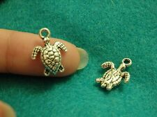 10 turtle pendants charms Tibetan silver antique wholesale jewelry making UK -0