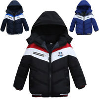 Kid Baby Boy Thick Coat Cotton Padded Winter Warm Jacket Hooded Snowsuit Outwear