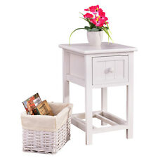 Bedside Table Night Stand Bedroom Wood Organizer Cabinet W/Drawer Basket Storage