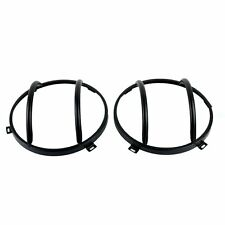 Pair Black Steel Front Euro Guard Head Light Cover For Jeep Wrangler 2007-2018