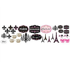 BRIDAL SHOWER Day in Paris PAPER CUTOUTS (30pc) ~ Wedding Party Supplies Pink
