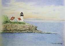 Aceo Art Trading Card Drawing Miniature Picture Lighthouse Coast Ocean Sunset