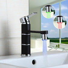 LED Black Painting Bathroom Sink Basin Faucet Single Hole Deck Mounted Mixer Tap