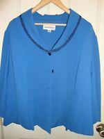 Danny & Nicole Blue Suit Jacket Blazer Women Sz 18W Stylish Dressy Button Up 207