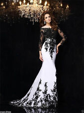 Long sleeve Black White Lace Prom Wedding Evening Party Pageant dress custom mad