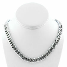 SOLID STAINLESS STEEL SILVER FINISH THICK HEAVY MIAMI CUBAN LINK CHAIN 12MM JayZ