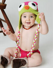 dark pink +green Cute Baby Boy/Girl Owls Knit Crochet Hat Children Beanie Cap