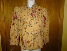 NEW WOMEN'S CHAPS DENIM TAN FLORAL BLAZER /JACKET MSP $99.00 SIZE SMALL