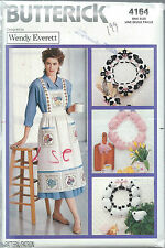 Butterick 4164 Craft Sew Pattern WREATHS Cow Pig Sheep APRON & JACKET ~ UNCUT