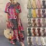 ZANZEA Women Summer Short Sleeve Long Maxi Dress Plaid Baggy Holiday Party Dress