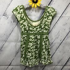 Hollister Cap Sleeve Blouse Womens Size S Green White Floral Print BOHO at4275