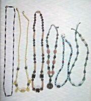 Vintage necklaces. yellow glass beads, brown plastic pendant, blue enamel chain