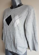 Size 12 Top JORDANA Grey Black White Thin Knit Casual Women's Great Condition