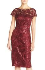 David Meister ~ Red Sequined Illusion Lace Sheath Cocktail Dress 6 NEW $550