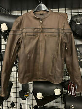 Men's Distress Brown Leather Motorcycle Jacket With Reflective Piping 6037.DBR