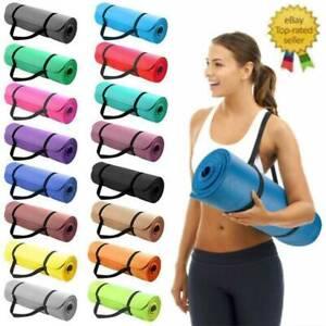Big/ Small Extra Thick Yoga Mat Non-Slip Exercise Pilates Gym Picnic Pad w/Strap