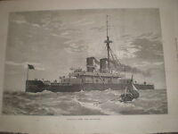 Our Ironclad Fleet HMS Dreadnought by J R Wells 1878 old print ref Y1
