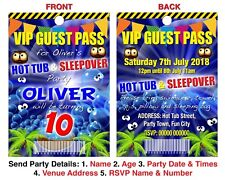 BIRTHDAY PARTY INVITATION LANYARD VIP Guest Pass Hot Tub Sleepover Blue