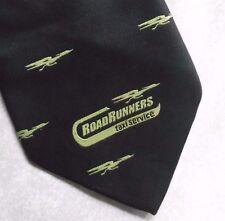 ROAD RUNNERS TAXI SERVICE COMPANY TIE 1990s VINTAGE RETRO CORPORATE BLACK