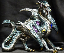 "BLUE STANDING DRAGON  Jeweled    H8.5"" x W10.75"""