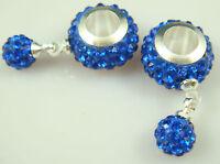 Gorgeous Czech Crystals Dangle Bead fit European Charm Bracelet Earrings 2s2a