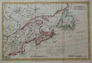 Original 1783 Bonne Map NEWFOUNDLAND NOVA SCOTIA MONTREAL Canada Northeast US