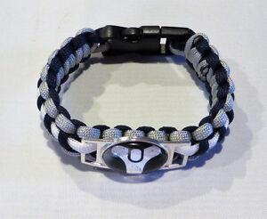 "DESTINY LOGO POWERCORD 9"" BLACK & WHITE SNAP ENCLOSURE UNISEX Bracelet"