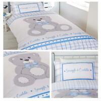 Kids Duvet Covers Blue Teddy Bear Check Cuddle Childrens Quilt Cover Bedding Set