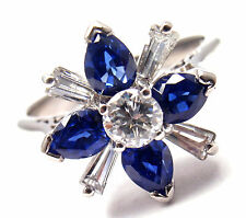 Rare! Estate Platinum Diamond Sapphire Cocktail Ring