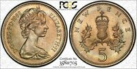 1968 GREAT BRITAIN 5 PENCE PCGS MS65 VERY NICE LIGHTLY COLOR TONED COIN