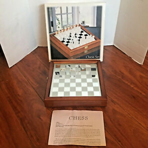 Chess Set Clear Glass with Frosted Glass Playing Pieces In Mahogany Finished Box