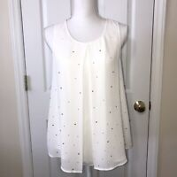 Juicy Couture Woman's White Sleeveless Silver Stud Blouse Top Size Medium