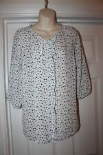 Ladies White Blouse with Black Swollow Bird Design Size 10 F&F Top