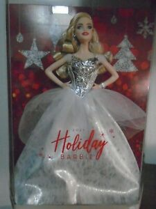 HERE SHE IS! IN ALL HER GLORY! CAUCASIAN 2021 HOLIDAY BARBIE DOLL W/SILVER DRESS