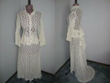 Antique Victorian Bustle Dress Vintage 2 pc Bobbin Lace Dress Stage Photo Prop