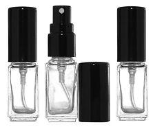 3 Perfume Cologne Atomizers Empty Square Glass Bottle Black Sprayer 5ml 1/6oz